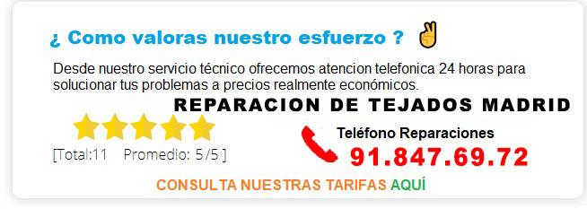 Reparacion de tejados Madrid precios